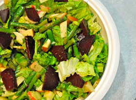 Wild Green Salad with Beets & Asparagus