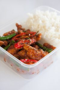 Thai take away food, stir fried chicken with rice