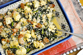 Cauliflower, Kale and Chicken Sausage Casserole