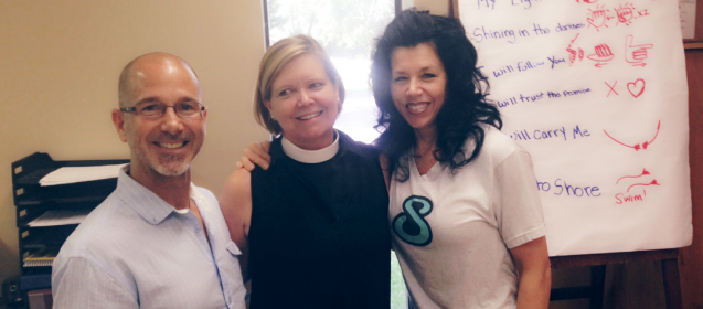 Mother Ronnie, Joey, Melanie celebrate St Patrick's Church Wellness Program, Fruit Cove