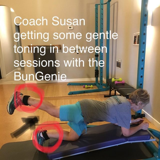 Coach Susan wearing the BunGenie for lowerbody toning strengthening andhellip
