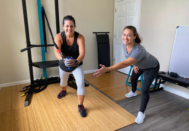 Corinne And Mrs AJ show band turn on the SCULPTAFIT Home Gym