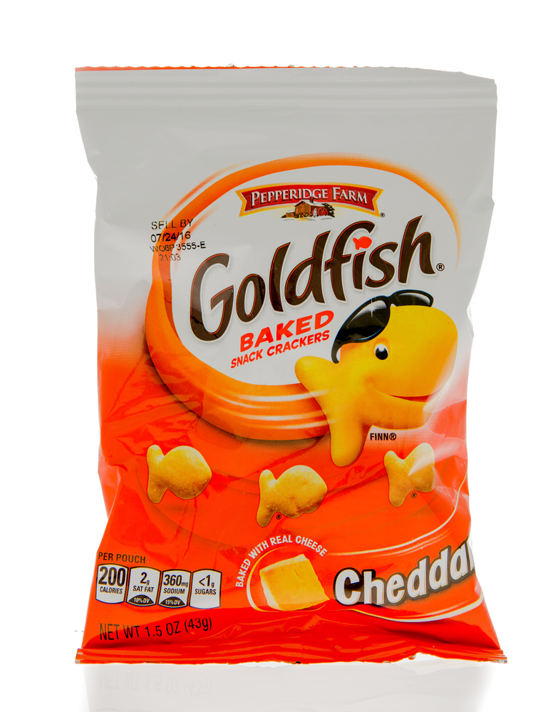 Winneconne, WI - 1 March 2016: A bag of Goldfish baked crackers in cheddar flavor.